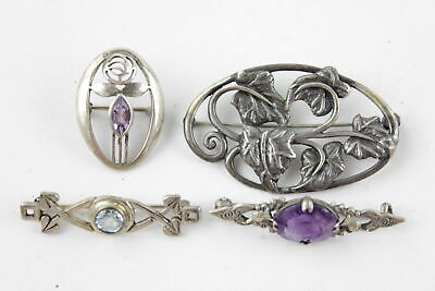 4 x Vintage .925 Sterling Silver BROOCHES Art Nouveau Glasgow School Style (20g)