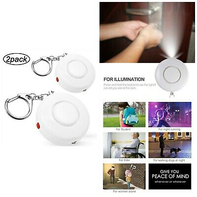 Personal Alarm Self Defense Keychain LED Light Emergency Siren Song Survival 2pc