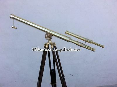 Nautical Marine Maritime Telescope Solid Brass Double Barrel Tripod Stand Gift