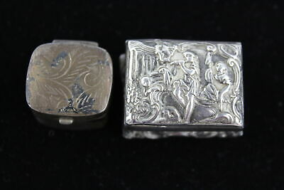 2 x Vintage .925 STERLING SILVER Ladies PILL BOXES Inc. Gilt Interior (48g)