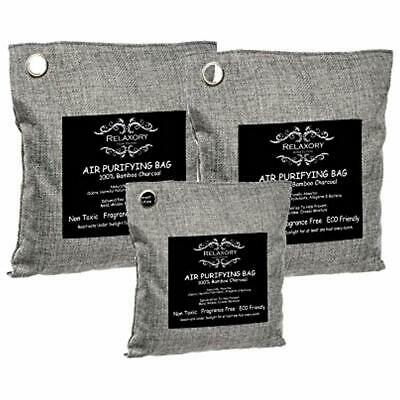 3 Pack - Relaxory Activated Nano Bamboo Charcoal Bag ( 2x 500g, 1x 200g ) 100%