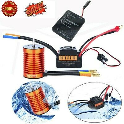 9T 3650 4300KV Brushless Motor + 60A ESC + Program Card Combo For 1/10 RC Car