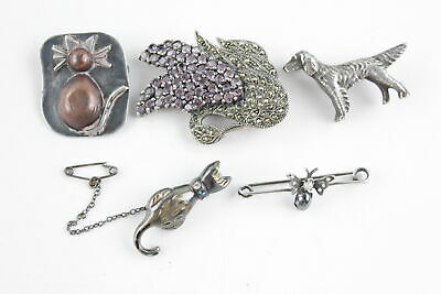 5 x Vintage .925 Sterling Silver ANIMAL BROOCHES inc. Dogs, Cats, Insect (33g)