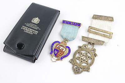2 Vintage Hallmarked .925 STERLING SILVER MASONIC Medals / Jewels (55g)