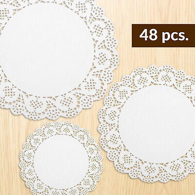 48pk Paper Doilies Small Medium Large Cake Sweet Party White Lace Round Doilies