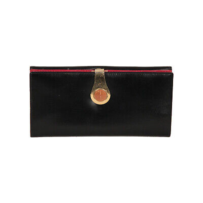 816f4f86d2f Authentic Gucci Vintage Black Leather Long Continental Wallet Coin Purse