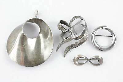4 x Vintage .925 Sterling Silver BROOCHES inc. Modernist Abstract Designs (37g)