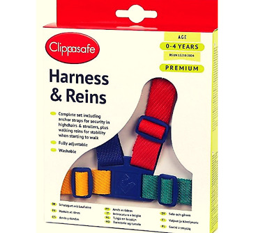 Walking Reins Safety Harness Baby Toddler Washable Adjustable Clippasafe 6m 4yrs