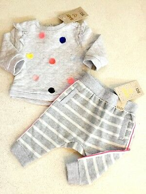 Cotton On Sweat Shirt Track Pant Pom Pom Baby Girl Jumper Size 0-3 months 000