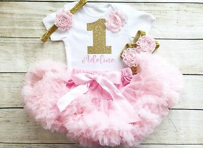 1st Birthday Tutu Outfits.Personalised First 1st Birthday Tutu Baby Girls Pink Gold