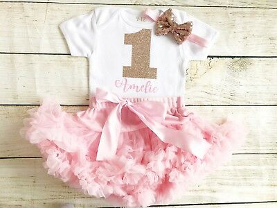 Rose Gold Pink Personalised First 1st Birthday Tutu Baby Girl Cake Smash Outfit