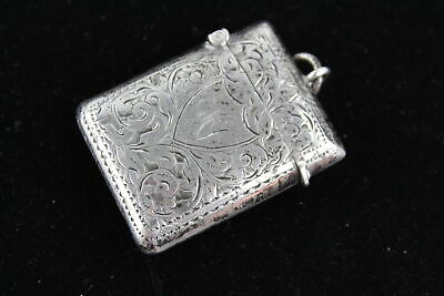 Antique Hallmarked 1896 Birmingham Sterling Silver VESTA Case (20g)