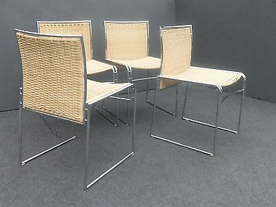 Set of Four Vintage Mid Century Contemporary Modern Chrome & Wicker Chairs