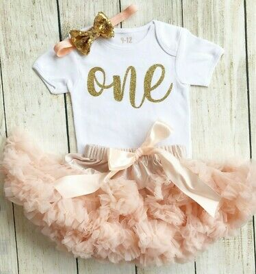 1st Birthday Peach Gold One Tutu Vest First Baby Girl Cake Smash Outfit Girls