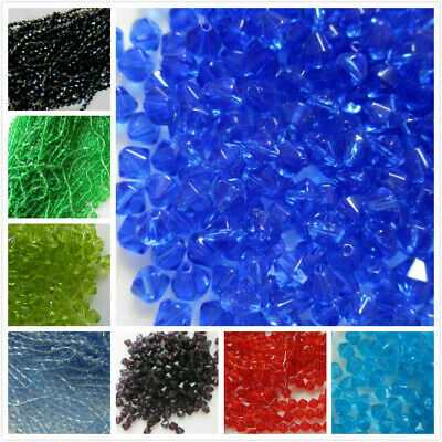 100 - 1000 Beads 6mm Bicone Crystal Glass 10 Colours Craft & Jewellery Making