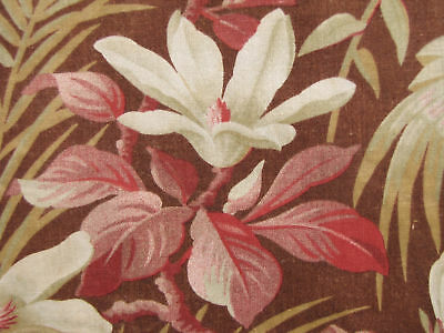 Fabric w/ large scale floral design 33.5x47 inches Antique French 19th century