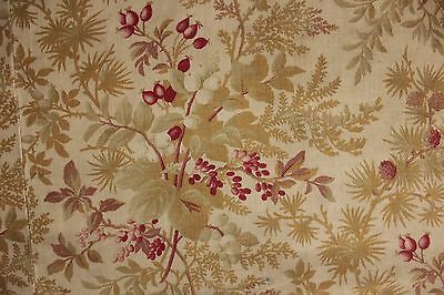 Fabric antique French floral printed cotton circa 1890 upholstery weight heavy