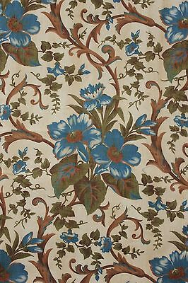 Antique fabric French printed blue floral rococo scroll block printed cotton old