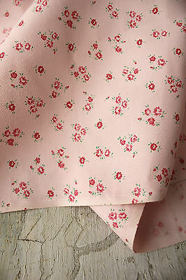 Fabric Vintage pink brushed cotton floral printed material Marignan c1940's