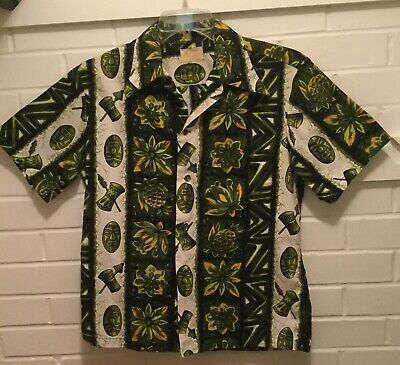 0eb95662d Vintage 70'S Ui-Maikai Mens Small Hawaiian Wide Collar Camp Shirt-Made In  Hawaii
