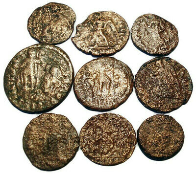 Lot of 9 Æ2-4 Ancient Roman Bronze Coins from IV. Century