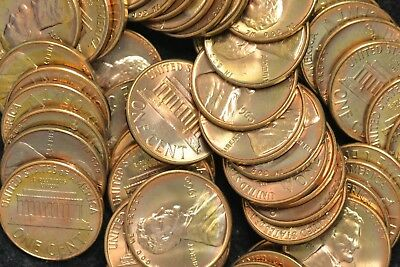 1960 P Large Date BU Red Roll Of 50 Lincoln Pennies Unc