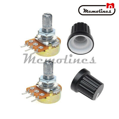 2PCS B20K OHM Linear Taper Rotary Potentiometer 15MM Shaft 3 Pin with Nuts