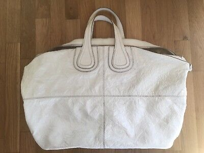 Givenchy Nightingale Bag Patent Leather Two Way White Crinkle Shopper Large  Tote 8df2a77737e88