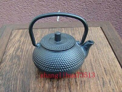 Collectible Handmade Carving Statue Teapot Copper Japanese Black Deco Art