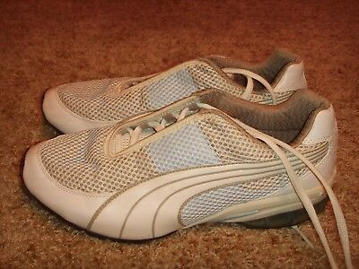 b02af9db3942a8 PUMA CELL RUNNING Mesh White Gray Womens Size 8.5 -  26.99