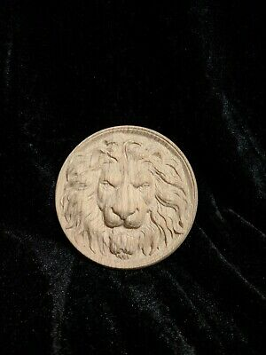 Decorative lion head, wooden Carved lion rosette. Oak wooden element. 10""