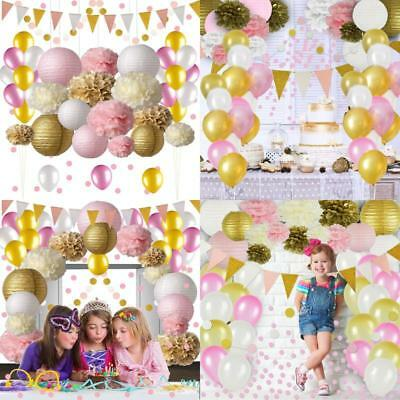 Pink and Gold Party Decorations, 50 Pack Pink Party Supplies - Balloons & More!