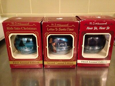 Mj Hummel Set Of 3 Goebel Christmas Theme Glass Ornaments 1983 1984 1985 Usa
