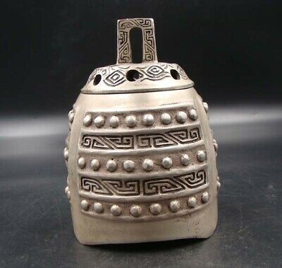 Collectible Handmade Carving Statue Copper Silver bell Incense Burner