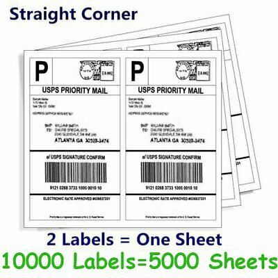 10000 Half Sheet 8.5x5.5 Shipping Labels Self Adhesive 2/Sheet for USPS Paypal
