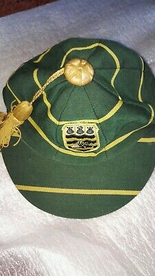 Vintage School Cap With Tassels ,Green & Yellow , Size 7 , ? Sporting Honours