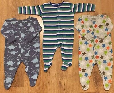 NEXT X 3 Boy Baby Grows/sleep suits: 0-3 Months *Combined Postage*