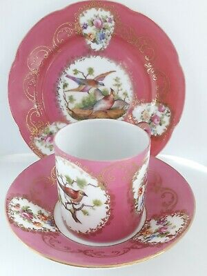 Antique 19Thc Sevres Style Exotic Birds French Porcelain Cup Saucer Plate Trio