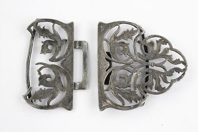 Antique Hallmarked 1901 London STERLING SILVER Nurses Ornate BELT BUCKLE 30g