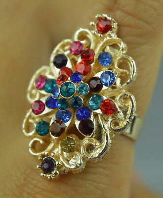 AAA Wonderful Decor Brass Inlay Zircon Carve Flower Rare Noble Adjust Ring