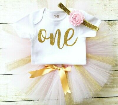 First Birthday Pink Gold Tutu Vest Baby Cake Smash Glitter Party Outfit 1st Girl