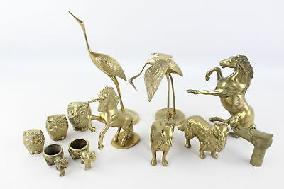 12 x Vintage Decorative BRASS Animals Inc. Owls, Horses, Dogs, Birds Etc (8757g)