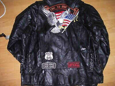 softleather biker jacket with eagle on.Live to ride black,50 in new condition