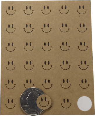 Happy Face Circle Stickers, 0.5 Inch Round, 300 Stickers Total, 7 Color Choices