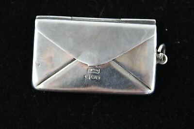 Antique Hallmarked 1905 Chester Solid Silver STAMP CASE Letter Design (13g)