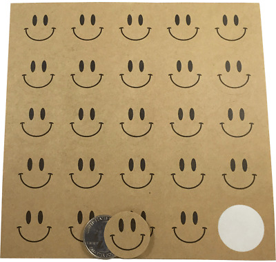 Happy Face Circle Stickers, 1 Inch Round, 200 Stickers Total, 7 Color Choices