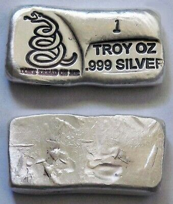 1-oz Silver Bar Don't Tread On Me - Hand Poured - FREE SHIPPING!