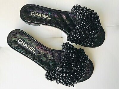 ebaa0b928be7 18S Chanel Black Iridescent Calfskin Leather Pearls Fantasy Flat Slides  Shoes 38