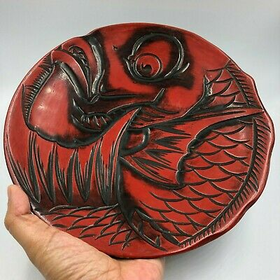RED Round Flower Plate/Dish Japanese Wooden Lacquer Ware Fish Sculpture Signed