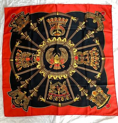 Vintage Hermès Silk Scarf, Red, Gold & Black Egyptian Scarabs, Great Condition